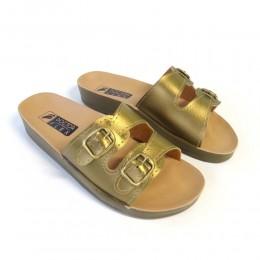 Sandália 2 Fivelas Dourada Doctor Flex