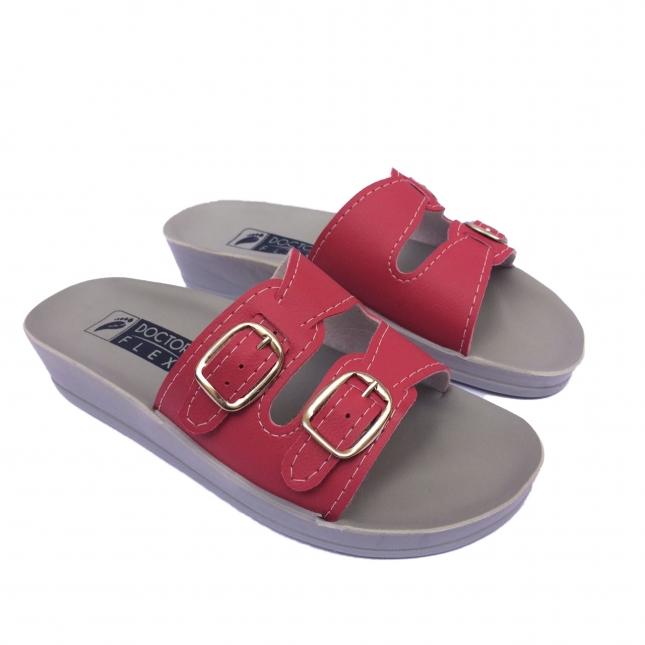 Sandália 2 Fivelas Vermelha Doctor Flex