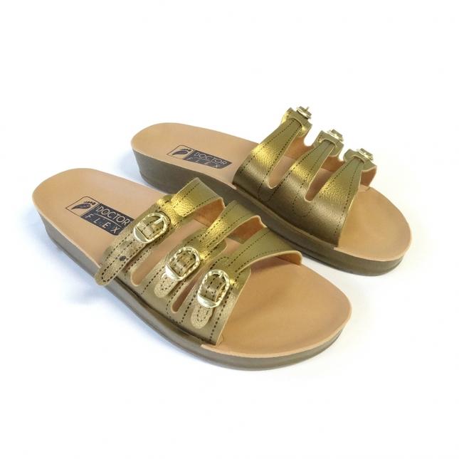 Sandália 3 Fivelas Dourada Doctor Flex